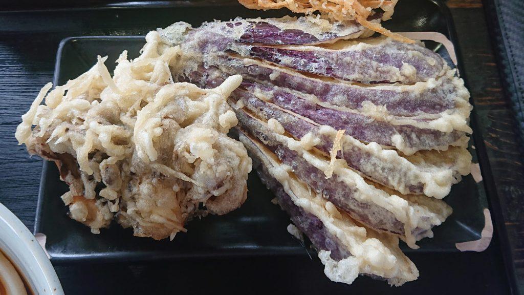 かばと製麺所のなす&まいたけ天ぷら